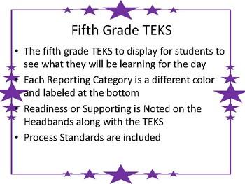 Fifth Grade TEKS for Display