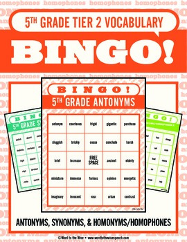 Fifth Grade Tier 2 Vocabulary Bingo