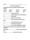 Fifth Grade Unit 2 Week 5 vocabulary test McGraw Hill Wonders