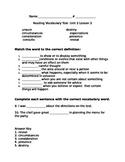 Fifth Grade Unit 2 Week 2 Vocabulary test McGraw Hill Wonders