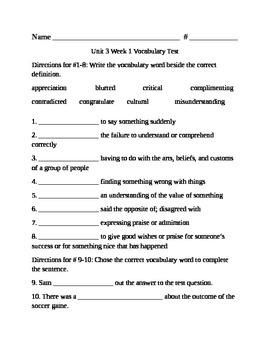 Fifth Grade Unit 3 Week 1 vocabulary test McGraw Hill Wonders