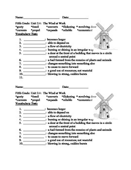 Fifth Grade Vocabulary Tests Imagine It Open Court Units 1 - 3