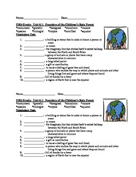 Fifth Grade Vocabulary Tests Units 4 - 6 part 2