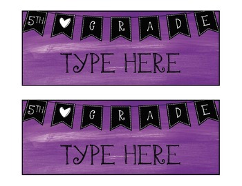 Fifth Grade Nameplates