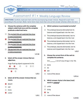 Fifth Grade Weekly Language Review Friday Assessments