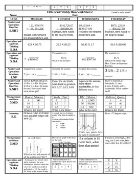 Fifth Grade Weekly Math Spiral Homework for the Entire Year!