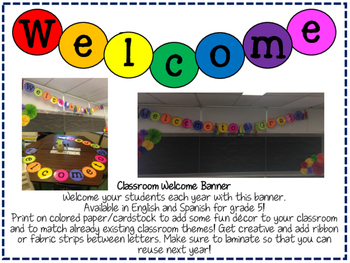 Fifth Grade Welcome/Bienvenidos Banner