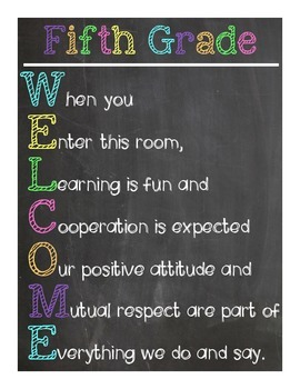 Fifth Grade Welcome Sign