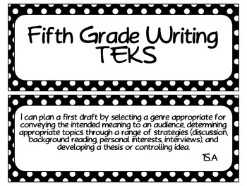 Fifth Grade Writing TEKS~ Black and White Polka Dot
