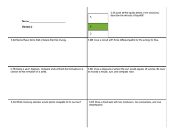 Fifth Science STAAR Review Set 3