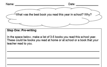 Fifth, Sixth, Seventh, Eighth Grade Writing Assessment
