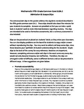 Fifth grade mathmatics AO.1 formative and summative slips