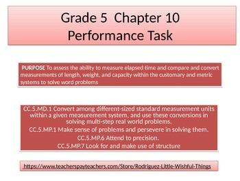 Fifth grade  Chapter 10  Math Performance task