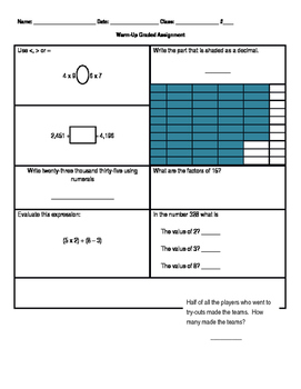 Fifth grade warm-up quiz