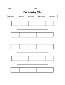 Fifths Fraction Vocabulary