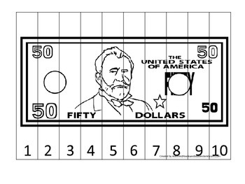 Fifty Dollar Bill 1-10 Number Sequence Puzzle. Financial education for preschool