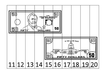 Fifty Dollar Bill 11-20 Number Sequence Puzzle. Financial education for preschoo