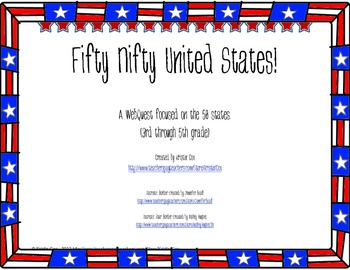 Fifty Nifty United States - State Research Project WebQuest