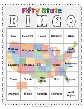 Fifty State Bingo Game