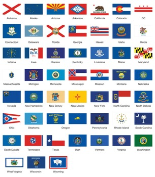Fifty States, capitals, and flags