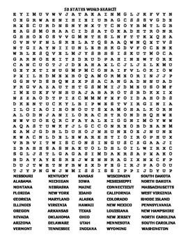 U.S. 50 STATES: 2 FANTASTIC WORD SEARCH PUZZLES and ANSWER KEYS!