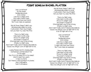 Fight Song by Rachel Platten CLOSE READ