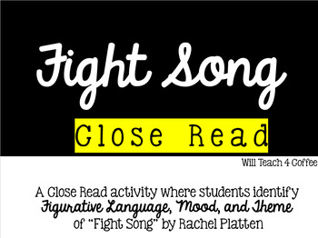 Fight Song by Rachel Platten CLOSE READ