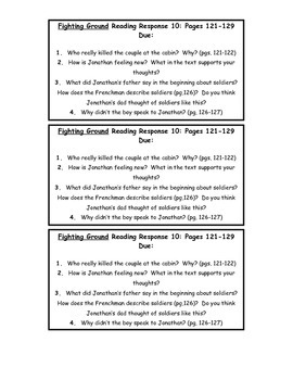 Fighting Ground Reading Response Questions/Prompts