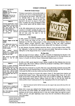 Fighting for women's suffrage -The Suffragettes' example