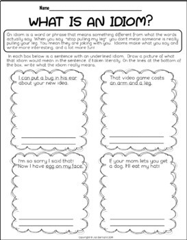 Figuative Language Teaching Pages
