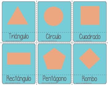 Figuras geometricas in Spanish 3 part cards