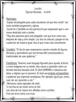 Figuras literarias  - el símil ( Literary Devices in Spanish - Similes Freebie )