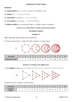 Figurate Number Patterns (Answers)