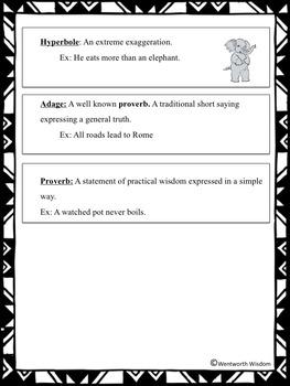 Figurative Language Literacy Writing Activities Figurative Language Activities