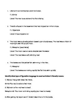Figurative Language Answer Key