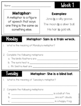 Figurative Language Warm-Up FREE - Similes and Metaphors