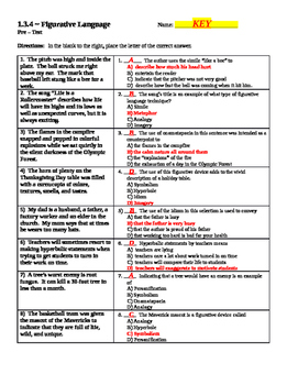 Figurative Language ~ 20-page Master Packet with KEYS (COMMON CORE)