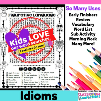 Idioms Activity: Idioms Word Search: Idioms Vocabulary