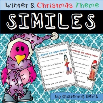 Winter Figurative Language | Similes Worksheets | Winter Literacy Activity