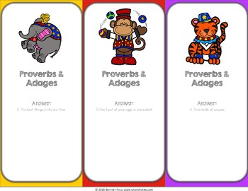 Figurative Language Activity: Proverbs and Adages Reading Game