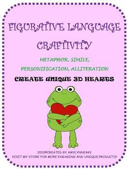 Valentine's Day Figurative Language Craftivity- February 3-D Hearts