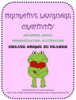 Valentine's Day Figurative Language Craftivity- February 3-D Hearts