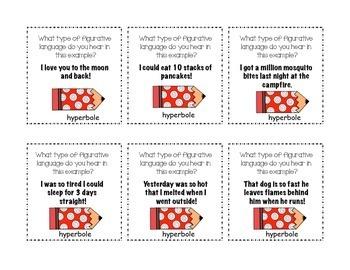 Figurative Language 4 Corners Game (3rd, 4th, 5th grades)