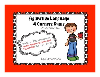 Figurative Language 4 Corners Game (3rd, 4th, 5th grades)