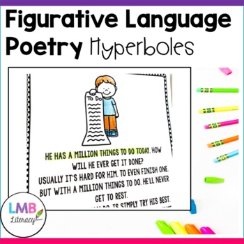 Figurative Language Activities, Hyperbole Poems with Poetry Comprehension
