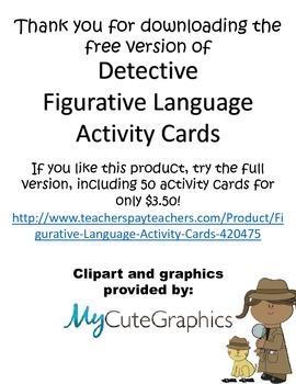 Figurative Language Activity Cards {FREEBIE!!!}
