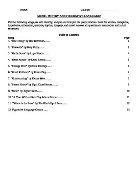 Figurative Language Activity - Music, Songs, Analysis, and