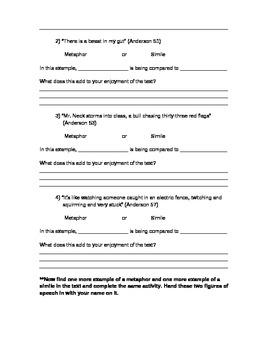 """Figurative Language Activity for """"Speak"""" by Laurie Halse Anderson"""