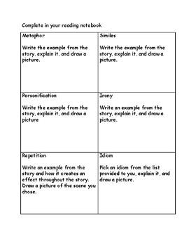 Figurative Language Activity for any novel or short story