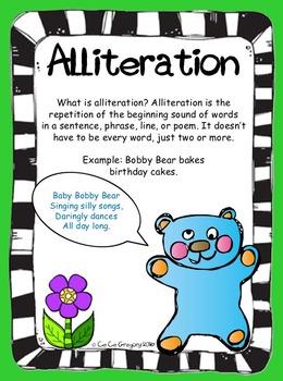Figurative Language Alliteration Poster and Lesson Station Task Set